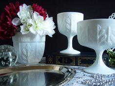 White Milk Glass Vases - Milk Glass Compote - Wedding Milk Glass - Vintage Wedding - Milk Glass Vase - Wedding Centerpiece - Wedding Vases by RetropolitanHolmes on Etsy https://www.etsy.com/listing/167310406/white-milk-glass-vases-milk-glass