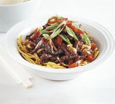 Ditch the takeaway and whip up this Chinese flash-fried steak with a sweet gingery sauce and red peppers