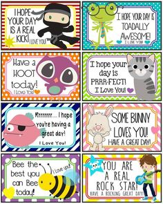 Lunch Notes and Jokes 16 Printable Lunch Box Notes Instant Kids Lunch Box Notes, School Lunch Box, School Snacks, Lunch Box Jokes, School Days, Designer Lunch Bags, Designer Kids, Toddler Lunches, Kid Lunches