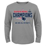 New England Patriots Youth Super Bowl XLIX Champions Trophy Collection Locker Room Long Sleeve T-Shirt – Gray