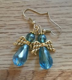 Earrings French wire teal angel