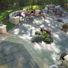 Have visual variety with your patio using different pavers and grade changes. Outdoor Living, Outdoor Decor, Backyard Patio, Roman, Deck, Walls, Friends, Courtyards, Outdoor Life