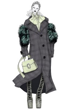 Lady Gaga for Marc Jacobs Fall illustrated by Issa Grimm Fashion Design Sketchbook, Fashion Illustration Sketches, Fashion Design Drawings, Illustration Mode, Creative Illustration, Fashion Sketches, Grey Fashion, Fashion Art, Fashion Portfolio