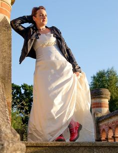 Rock chick bride with Doc Martin boots.