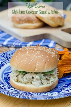Slow Cooker Chicken Caesar Sandwiches #crockpot #slowcooker
