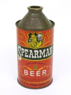 Cans: Cone Tops 10-12oz Spearman Straight 8 Beer Spearman Brewing Company Pensacola FL USA