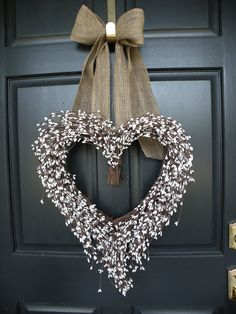 White Berry Shabby Chic Heart Valentine Wreath by Daulhouseshop, $65.00