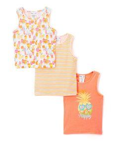 Orange Pineapple Princess Tank Set - Girls