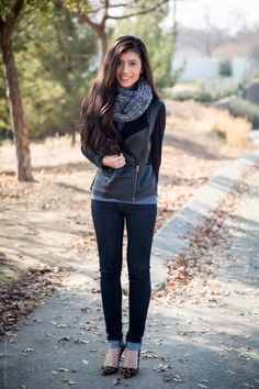 gray black winter outfit - Stylishlyme