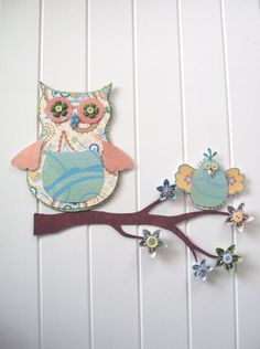 Owl 3D Wall Art w/ bird  Nursery decor  by ChloePaperArtStudio, $35.00. I would love, love, love to have this for the girls room!