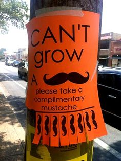 Although I absolutely HATE the mustache trend this made me lol!  Free Mustaches!