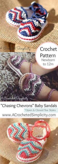 """Chasing Chevrons"" Baby Sandals pattern by Jennifer Pionk"