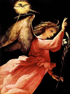 Gabriel (Angel Annunciating), Lorenzo Lotto, oil on wood Art Beauté, Entertaining Angels, Saint Esprit, High Renaissance, I Believe In Angels, Angels Among Us, Angels In Heaven, Heavenly Angels, Guardian Angels