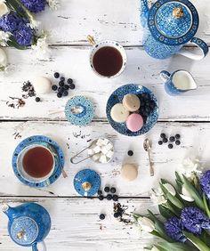 Beautiful Morrocan blue tea set