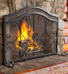 Large Crest Flat Guard Fireplace Screen #PlowHearth