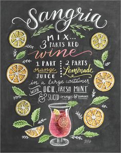 Lily & Val - Sangria Rezept (Englisch) Lily & Val Sangria recipe poster at Posterlounge ✔ Free shipp Summer Drinks, Cocktail Drinks, Alcoholic Drinks, Beverages, Sangria Bar, Cocktail Images, Summer Sangria, Chalkboard Designs, Chalkboard Art