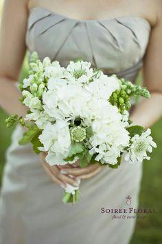 Bridesmaid's Stunning Bouquet Showcasing: White Hydrangea, White Snapdragons + Buds, White/Green Scabiosa, Greenery
