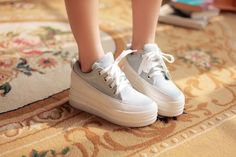 Womens Platform Lace Creepers Denim Canvas Fashion Sneakers Wedge Tennis Shoes