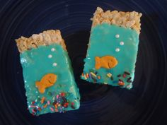 "Oceanarium decorated rice krispies treats for  Ocean theme ""Sweet 16"" Birthday Party  www.StefsEvents.com  http://www.facebook.com/StefsEvents"