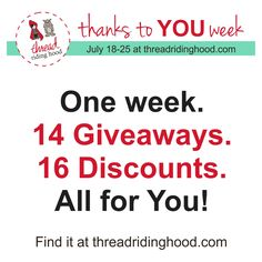 Thanks to YOU Week! 4th Blogiversary Giveaway & Discount Event at Thread Riding Hood