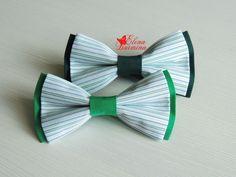 Купить Бабочка галстук полосатая зеленая, хлопок - тёмно-зелёный, в полоску…