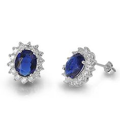 Kate Middleton Inspired CZ Sapphire Earrings 925 Sterling Silver Gift Boxed | eBay