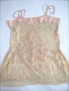 An Incredible Ornate Silk Tambour Lace Chemise Teddy c. 1920's