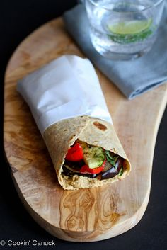 This easy vegan Grilled Vegetable Wrap Sandwich is made even better with a smear of hummus and a sprinkle of fresh basil. It's perfect for Meatless Monday! 232 calories and 4 Weight Watchers Freestyle SP Wrap Recipes, Vegan Recipes Easy, Vegetarian Recipes, Vegan Vegetarian, Nut Recipes, Skinny Recipes, Vegan Meals, Vegan Food, Yummy Recipes