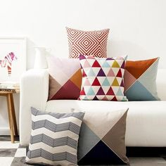These delightful throw pillow showcases are an artful addition to your living room sofa or guest room. You can mix and match however you like to really pull a room together. Brighten up your room by adding your own unique combination of colors, patterns and shapes. The hardest part is deciding which ones to choose. Start decorating today and let your creativity go wild!! #cushion_covers #cushion #covers #home #decor #throw_pillows #couch #pillow_covers #ideas #design #interior #geometric…