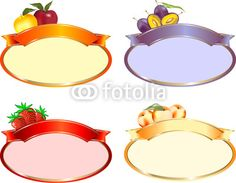 Vettoriale: Etichetta ovale confetture varie