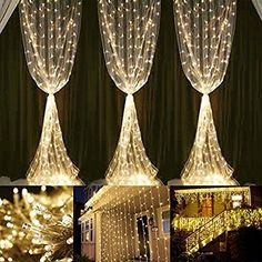 Neretva Window Curtain Icicle Lights, 600 LEDs String Fairy Lights, 19.68FTx9.84FT, 8 Modes Linkable , Icicle Fairy Lights for Christmas Party Wedding Home Patio Lawn Garden Decorative Lights