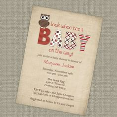 owl invitations baby shower gender neutral by freshlysqueezedcards, $12.00
