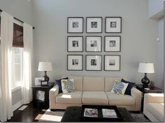love the wall art over the couch and simple decor
