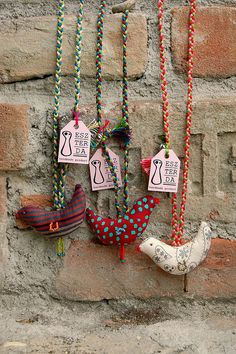 textile chicken necklace - cute.