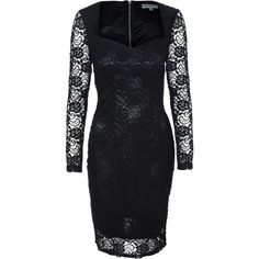 Alice & You Sweetheart Lace Dress (80 CAD) ❤ liked on Polyvore featuring dresses, black, women, black dress, black party dresses, black cocktail dresses, black lace cocktail dress and long sleeve party dresses
