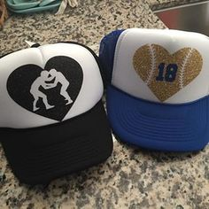 Some sports mom heart hats! Can be made for any sport!  15   lcscustomdesigns  personalizedhats  truckerhats  sportsmom  baseballheart   wrestlingheart 09f156ab4312