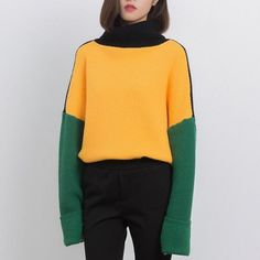 Fashion color block sweater for girls knit cowl neck sweaters