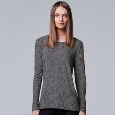 Petite Simply Vera Vera Wang Jacquard Tee, Women's, Size: XS Petite, Grey (Charcoal)