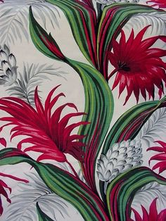 vintage tropical bark cloth, I am lucky enough to have curtains made from this in my lounge room Textures Patterns, Fabric Patterns, Print Patterns, Tropical Design, Tropical Pattern, Motif Floral, Floral Prints, Century Textiles, Retro Fabric