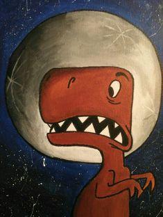 Dinosaurio en acrílico #dinosaurio #acrilico #luna #lunático