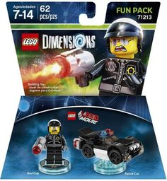 After you've saved the day, expand your LEGO Dimensions experience with The LEGO Movie: Bad Cop Fun Pack. Featuring 62 buildable pieces, this Fun Pack plunges you behind the badge of another realm of the LEGO multiverse with Bad Cop and his Police Car. Lego Movie Game, Lego Games, Lego Film, Lego Police Car, Xbox 360, Playstation, Batman Movie 2017, Lego Videos, Buy Lego