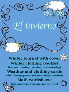 This winter unit is an excellent opportunity to teach or reinforce expressions or vocabulary about climate and clothing.  The journal part of it provides an opportunity for students to take a final product home to share with their families.This unit is full of activities included in 10 blocks that can be divided into different sections.
