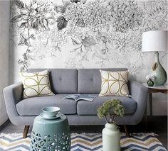 55 x 35 schizzo fiori carta da parati in bianco e di DreamyWall
