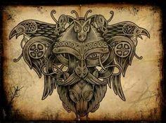 Norse Viking back tattoo idea Celtic Tatoo, Celtic Art, Viking Life, Viking Art, Hugin Munin Tattoo, Viking Designs, Viking Culture, Vegvisir, Nordic Tattoo
