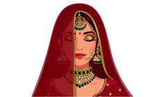 Portrait of beautiful indian bride face ... | Premium Vector #Freepik #vector #wedding #gold #people #woman Indian Illustration, Fashion Illustration Sketches, Art Drawings Sketches, Dress Illustration, Indian Women Painting, Indian Art Paintings, Bride Cartoon, Cartoon Art, Indiana