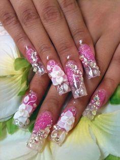 Acrylic Nails With Rhinestones | Pink Glitter and Clear Acrylic Nails with 3D Flowers and Rhinestones.