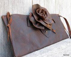 Brown Antiqued Leather Slender Clutch Bag
