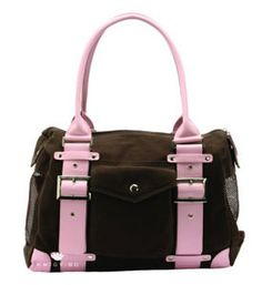 London Brown/Pink Puppy Carrier by Kwigy Bo