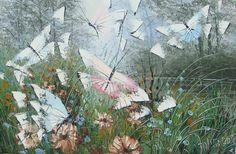 Flying Butterflies - Hand Painted Oil Painting on Canvas Reproduction - Free Shipping #01105 - $45.90 - Rock Wall Art - Buy Popular Hand Painted Oil Painting Artworks from Place of Origin , Save More