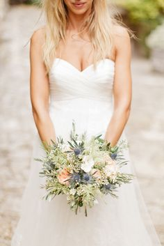 #Bouquet | Gown by #Pronovias | See the wedding on SMP - http://www.StyleMePretty.com/2014/01/06/le-grand-banc-provence-wedding/ Xavier Navarro Photographie